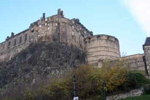 Edinburgh Castle seen from Grassmarket